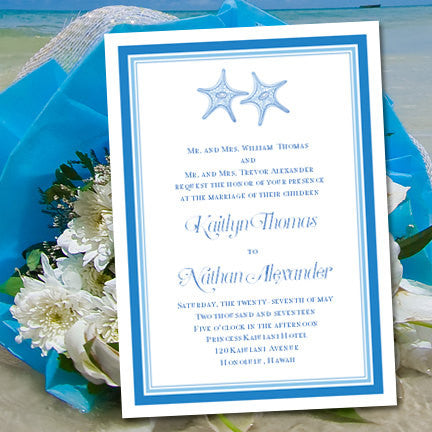 Beach Theme Wedding Invitation Turquoise Sea Blue