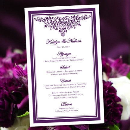 Wedding Reception Menu Template Anna Maria Purple 5x8