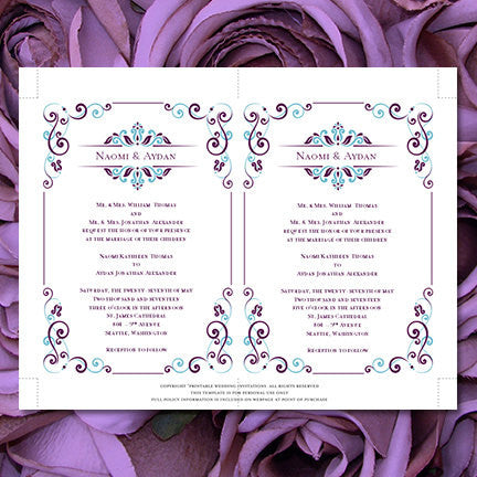 Julia Wedding Invitation Peacock Blue Purple