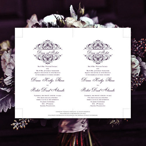 Pocket Fold Wedding Invitations Grace Purple Eggplant Silver 5x7