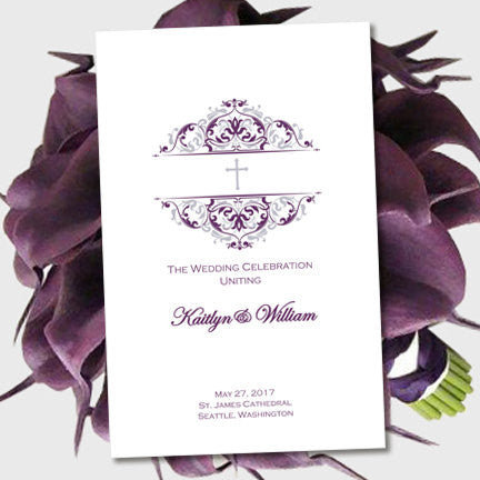 Catholic Church Wedding Program Grace Purple Eggplant Silver