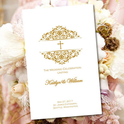 Catholic Church Wedding Program Grace Gold
