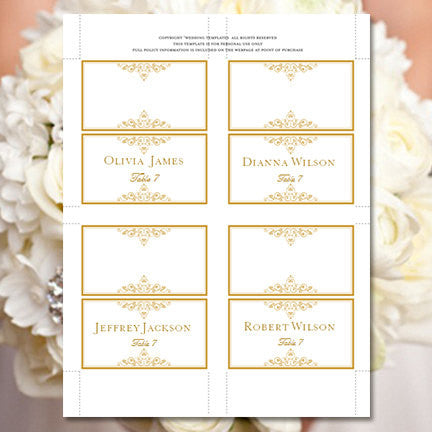 Wedding Seating Card Vintage Gold Tent
