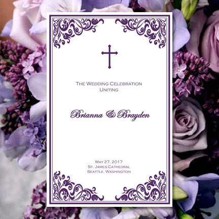 Catholic Church Wedding Program Faith Purple