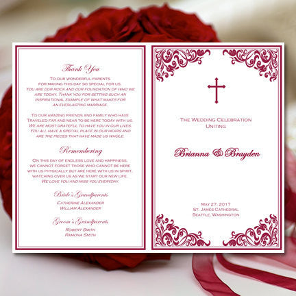 Catholic Church Wedding Program Faith Cherry Red