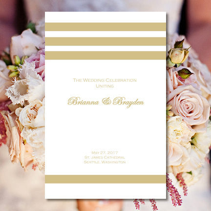 Catholic Church Wedding Program Simply Stripes Champagne