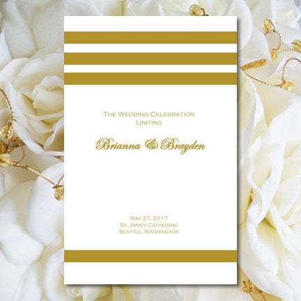 Catholic Church Wedding Program Simply Stripes Gold