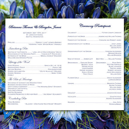 Catholic Church Wedding Program Simply Stripes Navy Blue