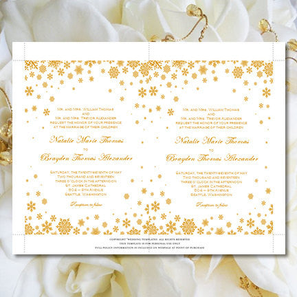 Snowflake Wedding Invitation Gold