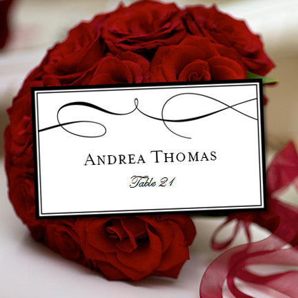 Printable Wedding Place Cards It's Love Black Flat