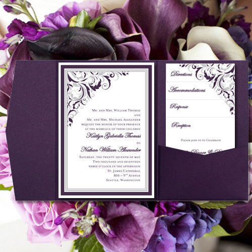 Pocket Fold Wedding Invitations Brooklyn Purple Silver 5x7