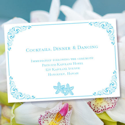 Wedding Reception Invitations Love on the Beach Malibu Blue Starfish