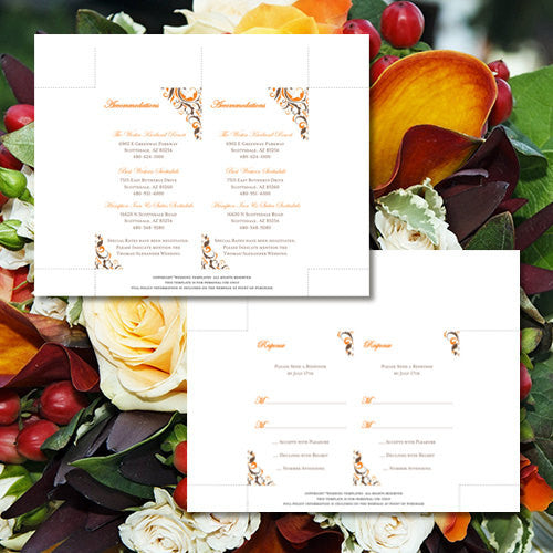 Pocket Fold Wedding Invitations Brooklyn Chocolate Brown Orange 5x7