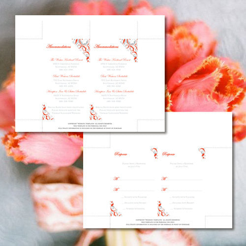 Pocket Fold Wedding Invitations Brooklyn Coral Silver Gray 5x7