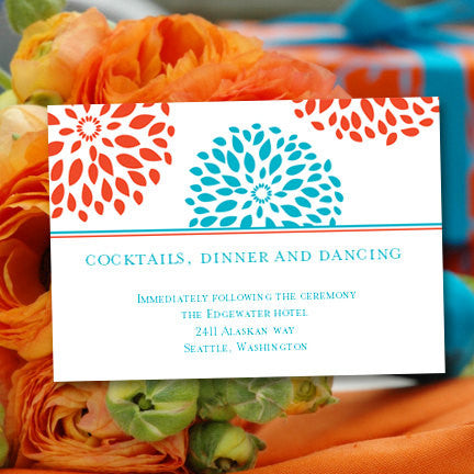Wedding Reception Invitations Floral Petals Coral Turquoise