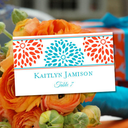 Wedding Seating Card Floral Petals Coral Turquoise Tent