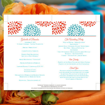 Wedding Program Fan Floral Petals Coral Turquoise