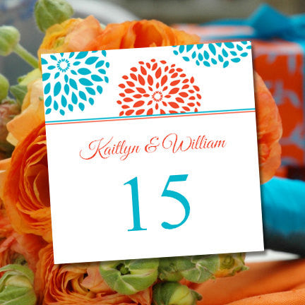 Printable Table Number Floral Petals Coral Turquoise Tent