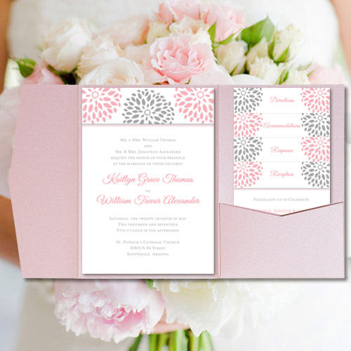 Pocket Fold Wedding Invitations Floral Petals Blush Pink Silver Gray 5x7