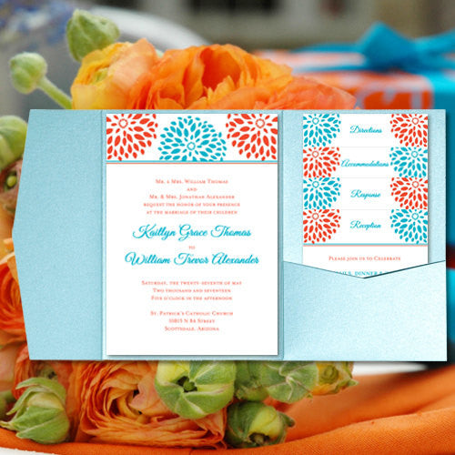 Pocket Fold Wedding Invitations Floral Petals Coral Turquoise 5x7