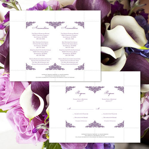 Pocket Fold Wedding Invitations Anna Maria Purple 5x7
