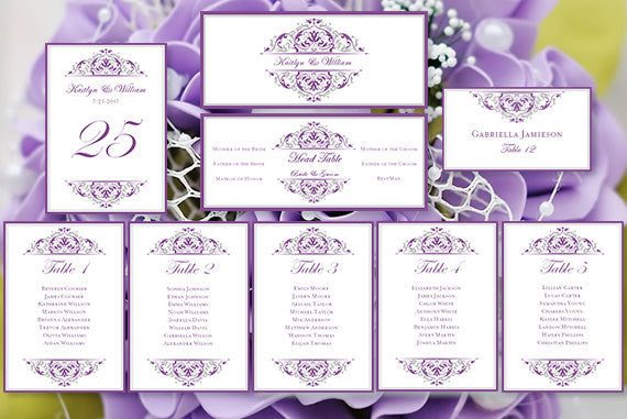 Wedding Seating Chart Set Grace Purple Silver