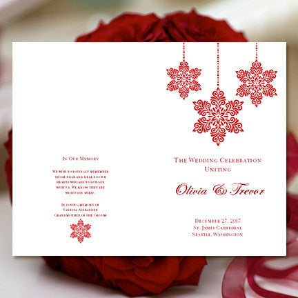 Wedding Program Template Snowflakes Red
