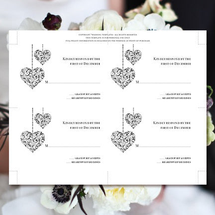 Wedding Response Cards Hearts Black White