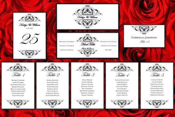 Wedding Seating Chart Set Grace Black Silver