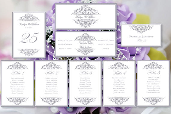 Wedding Seating Chart Set Grace Silver Gray