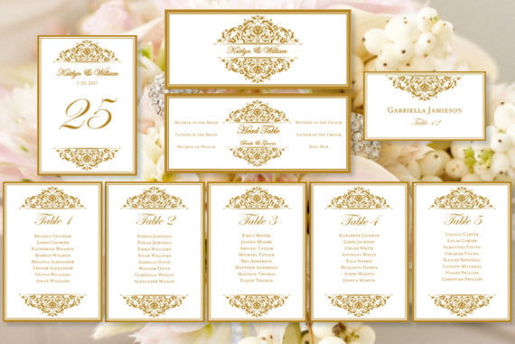 Wedding Seating Chart Set Grace Gold