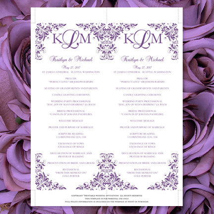 Slim Wedding Program Kaitlyn Purple