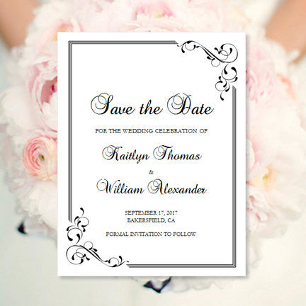 Wedding Save the Date Cards Elegance Black White