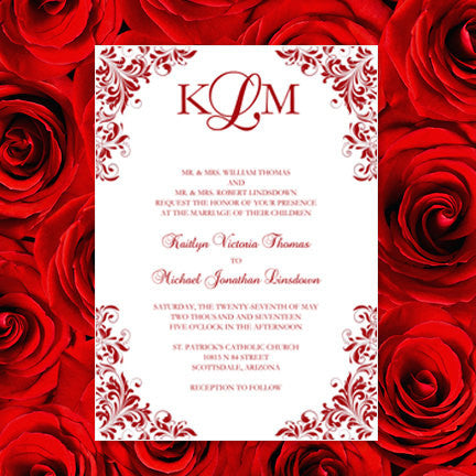 Kaitlyn Wedding Invitation Red