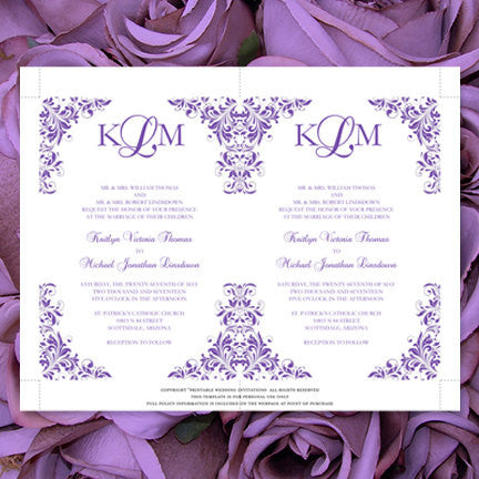 Kaitlyn Wedding Invitation Purple
