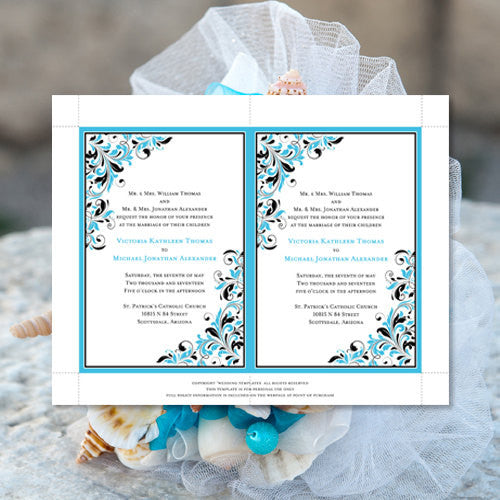 Pocket Fold Wedding Invitations Kaitlyn Malibu Blue Black 5x7