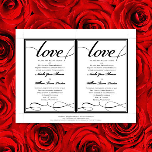 Pocket Fold Wedding Invitations It's Love Black 5x7