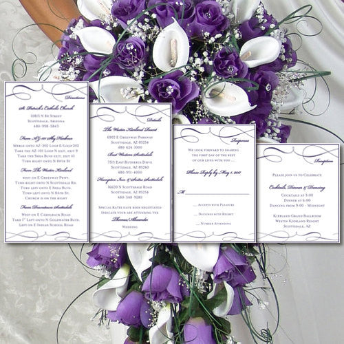 Pocket Fold Wedding Invitations It's Love Purple 5x7