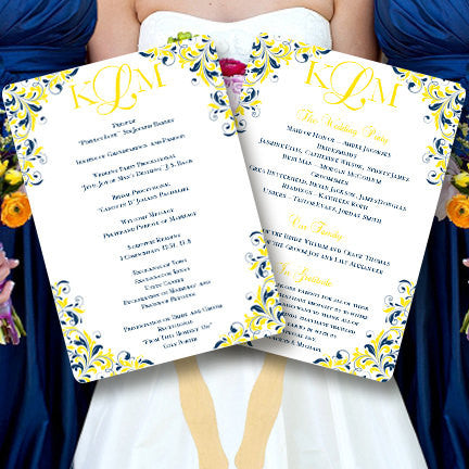 Wedding Program Fan Kaitlyn Navy Blue Lemon Yellow Monogram
