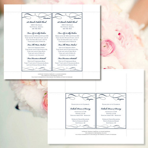 Pocket Fold Wedding Invitations It's Love Navy Blue 5x7
