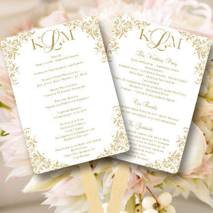 Wedding Program Fan Kaitlyn Champagne Gold Monogram