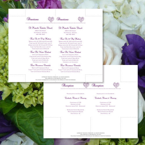 Pocket Fold Wedding Invitations Hearts Purple 5x7