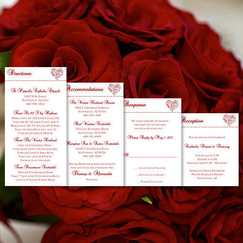 Pocket Fold Wedding Invitations Hearts Red 5x7