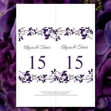 Wedding Table Number Template Forever Entwined Eggplant Silver Flat