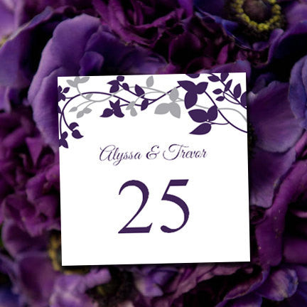 Printable Table Number Template Forever Entwined Eggplant Silver Tent