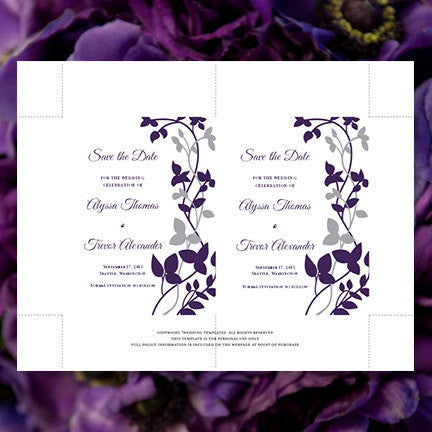 Wedding Save the Date Cards Forever Entwined Silver Eggplant