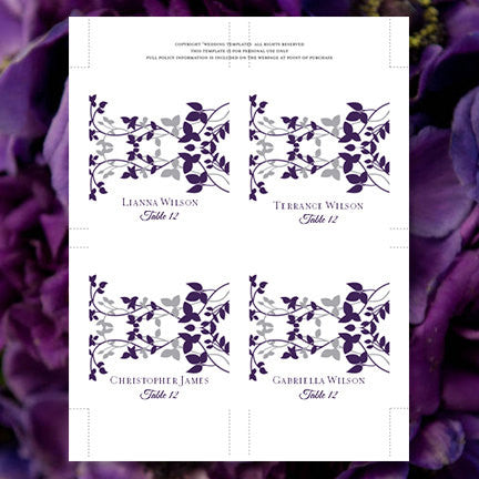Wedding Seating Card Forever Entwined Eggplant Silver Tent