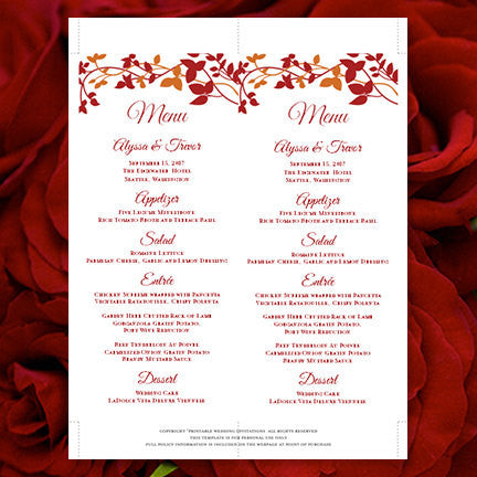 Wedding Menu Card Forever Entwined Autumn Red Orange Tea Length