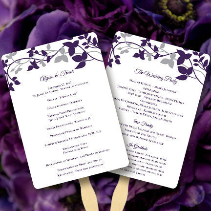 Wedding Program Fan Forever Entwined Purple Eggplant Silver