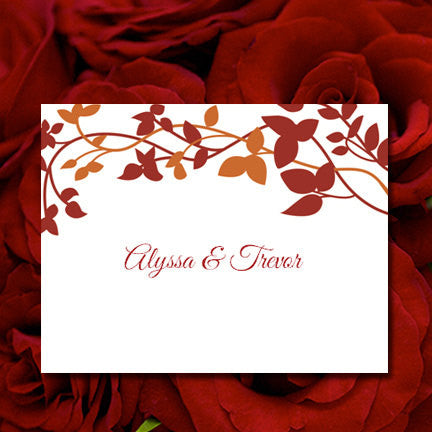 Wedding Thank You Card Forever Entwined Autumn Red Orange